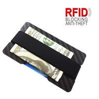 Carbon Fibre RFID Blocking Money Clip Credit Card Cash Holder Minimalist Wallet