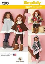 SIMPLICITY SEWING PATTERN Child's Poncho & Reversible Cape SIZE S - L 1263 A