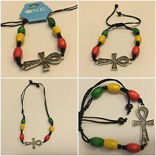 Red, Green & Gold / Rasta Beaded Bracelet Expandable with Metal Ankh Badge