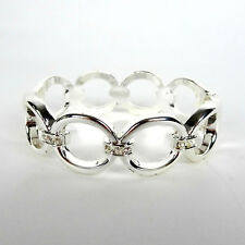 "White Crystal Circle Link Hinged Bangle Bracelet Silvertone 7.5"" Fashion Jewelry"