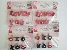 28pc Happy Valentines Day Red/Pink Love  hearts & XOXO  decor Wooden Clips