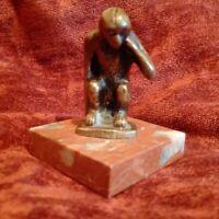 Rare statuette bronze MONS Belgique très bon état belle patine bronze et marbre