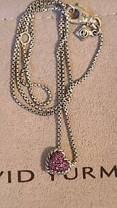 """David Yurman 8mm Chatelaine Pave Pink Sapphire Heart Silver Necklace 16-17"""""""