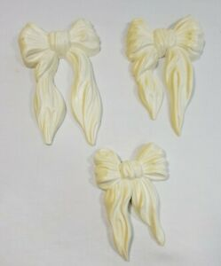 Vtg Set 3 COUNTRY White RIBBON BOW Wall Acent Plaques Homco 7601 Home Interiors.