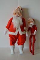 Vintage Standing Santa Claus & Bendable Figure Set of 2 Japan Christmas Decor