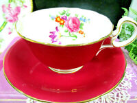 AYNSLEY tea cup and saucer RED Low Doris floral teacup England 1930s