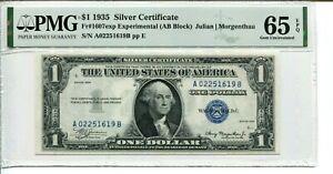 FR 1607 1935 $1 EXPERIMENTAL SILVER CERTIFICATE PMG 65 EPQ GEM UNCIRCULATED