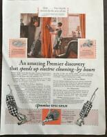ORIGINAL 1929 Premiere Spic and Span Electric Vacuum PRINT AD Art Deco