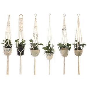 Macrame Rope Plant Hanger Basket Flower Pot Hanging Holder Garden Decor
