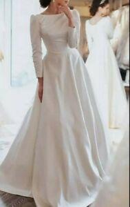 UK White Ivory Long Sleeve Court Train Satin A Line Modest Wedding Dress Size 16
