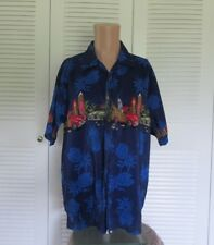 Pipeline Mens L Casual Short Sleeve Shirt with Surfboards and Antique Cars