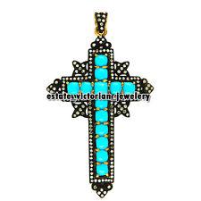 Vintage 3.44cts Rose Cut Diamond Turquoise Silver Stunning Jewelry Cross Pendant