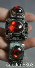 old Chinese Hand-carved Tibetan silver Mosaic Zircon Ruby Lucky Frogs Bracelets