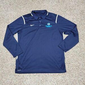 Nike Polo Shirt Mens XL Blue Logo Long Sleeve Dri Fit Performance Wicking Casual