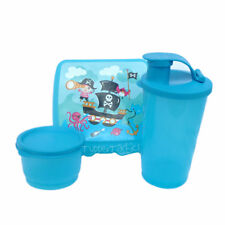NEW Tupperware Pirates Lunch Set Sandwich Keeper Tumbler Snack Cup Boys Blue