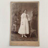 Woman with flower basket 1800s Cabinet Card Photo Appleton Bradford