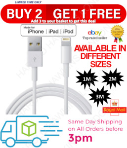 1m 2m 3m Long Genuine iPhone Charger for iPhone 12 11 X 6 5 7 8 USB Data Lead
