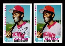1982 TOPPS GEORGE FOSTER ALL-STAR  ERROR AND CORRECTED AUTO #342 REDS 2 CARDS
