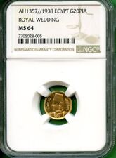 EGYPT  1938  20 PIA      GOLD  0.0478 OZ AGW  NGC MS 64 ROYAL WEDDING