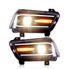 Set Headlight For DODGE CHARGER 2011-2014 Projector Black Dual Beam Head Lens