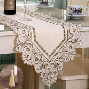Table Runner Ployester Lace Embroidered Floral Table Cover Runners Home Textile
