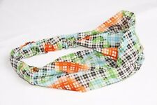 Black & White Check Print Knot Front Headband W Bright Neon Flowers (s140)