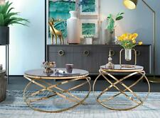 Designer Metal Stainless Steel Couch Glass Table + Side Tables Sofa New 2 PC Set
