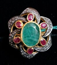 Traditional Party Wear Ruby,Emerald Gemstone With Pave Diamond Ring Solid Silver