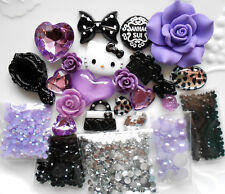 DIY 3D Kitty Purple Bling Bling Flatback Cabochons Cell Phone Case Deco Kit