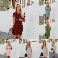 Women's Sleeveless Mini Dress Short Sleeve Bodycon Casual Slim Dresses