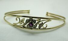 Beautiful 2 Colour 9 carat Gold Amethyst And Diamond Torque Bangle