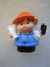 Fisher Price Little People CONSTRUCTION WORKER GIRL with BLUEPRINTS ~ Rare!
