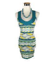 NWT BLOCKOUT Dress - Aztec Geometric White Green Pencil Bodycon - 8 - RRP $79.95