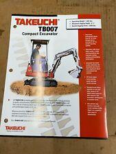Takeuchi Tb007 Hydraulic Excavator Sales Literature Amp Specifications
