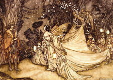 RACKHAM Art Print Fairy Queen Titania & King Oberon in Midsummer Night's Dream