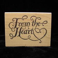 "From The Heart Fancy Script Azadi Earles Rubber Stamp 3"" x 2.25"""