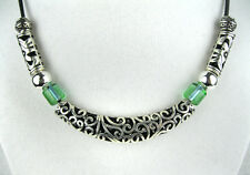 """Unique Tribal HandMade Necklace - Green Glass & Metal Tube Beads on a 18"""" Choker"""