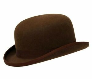 Brand New Men's Brown Derby Formal Traditional Authentic Wool Felt Bowler Hat
