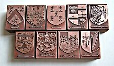 "53 ENGLISH COUNTY ""COATS OF ARMS"" Print Blocks. (Multiple Item Listing)"