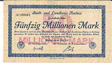 GERMANY NOTGELD Aachen Stadt&Landkreis 50 MIL MARKS 20.07.1923 AUUNC