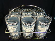 Colony Glass Co. Blue & White Grape Glasses 10 Ounces Set of 6 with Caddy (#15)
