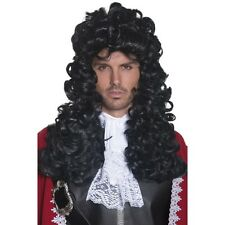 Para Hombre Capitán Pirata Peluca Fancy Dress del Caribe francés largo y rizado divertido Negro