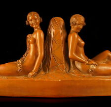 Femmes dénudées Groupe art déco cachet Fontaine Durieux 55cm  terre cuite 1930