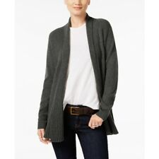 Charter Club Cashmere Ribbed Open-Front Cardigan Heather Cinder XS