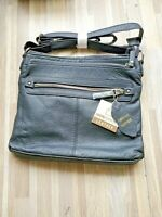 Hand Crafted Genuine Leather Multi Pocket Cross Body Bag Purse Black