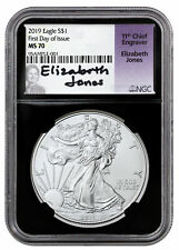 2019 1 oz Silver American Eagle $1 NGC MS70 FDI Black Core Jones Signed SKU56961