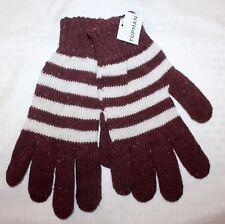 TOPMAN Designer Men's Acrylic Wool Gloves Striped Burgundy Ivory M/L NWT $30 FBB