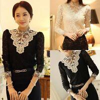 Women Fashion Lace Crochet High Collar Blouse Casual Long-sleeve Shirt Tops NEW
