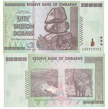 ZIMBABWE 50 TRILLION DOLLARS UNCIRCULATED AA/2008  / $100 Trillion Series