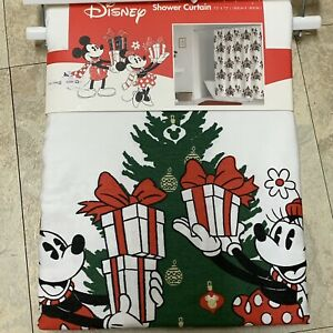 DISNEY MICKEY & MINNIE MOUSE  HOLIDAY/CHRISTMAS FABRIC SHOWER CURTAIN ~ NEW!